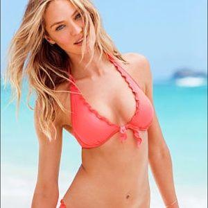 Victoria's Secret Swim Orange Halter Ruffle Bikini